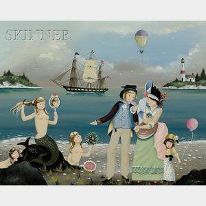 Ralph Eugene Cahoon, Jr. (American, 1910-1982)      Harbor View with Mermaids