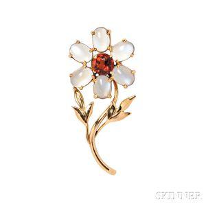 Retro 14kt Gold, Citrine, and Moonstone Flower Brooch, Cartier