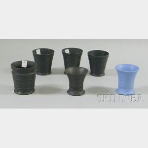 Six Wedgwood Basalt Edme Footed Cups