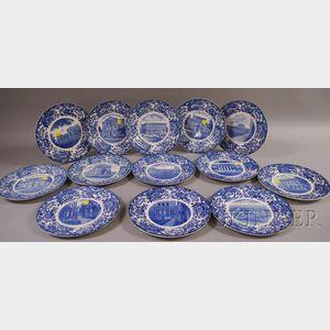 Set of Thirteen Wedgwood Blue and White Massachusetts Institute of Technology Ceramic Plates.