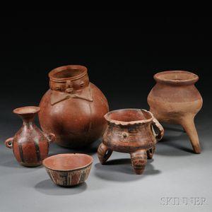 Five Pre-Columbian Pottery Vessels
