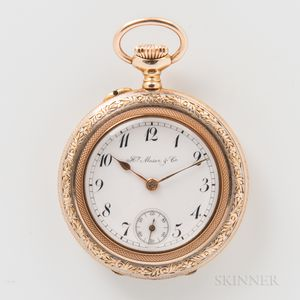 14kt Gold Open-face Pendant Watch