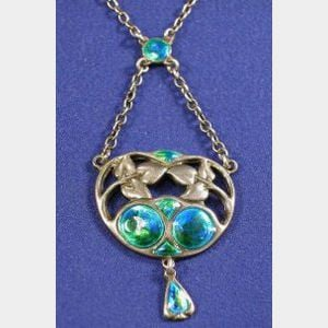 Arts & Crafts Sterling Silver and Enamel Pendant Necklace, Liberty & Co.