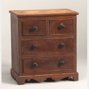 Miniature Grain Painted Pine Chest of Drawers