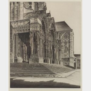 John Taylor Arms (American, 1887-1953)    The North Portal of Chartes Cathedral