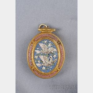 Etruscan Revival 14kt Gold and Micromosaic Pendant