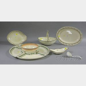 Ten Wedgwood Hand-painted Creamware Tableware Items