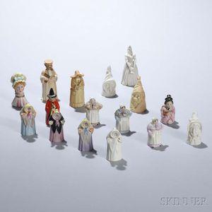 Sixteen Royal Worcester Porcelain Candle Extinguishers
