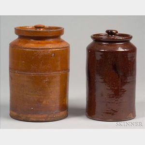 Two Covered Redware Jars