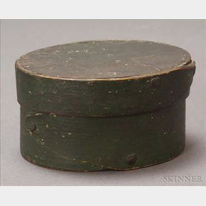 Small Green-painted Covered Oval Box