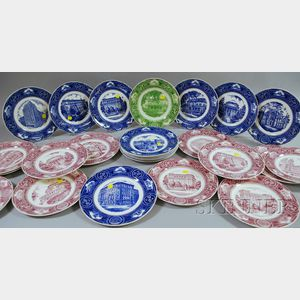 Twenty-five Wedgwood New York University Ceramic Plates