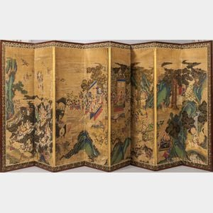 Sold for: $399,000 - Eight-panel Folding Screen, Yojiyeondo