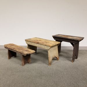 Three Small Painted Pine Benches