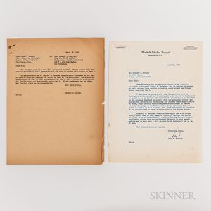 Kennedy, John F. (1917-1963) Typed Letter Signed to Richard S. Kelley, 26 March 1954.