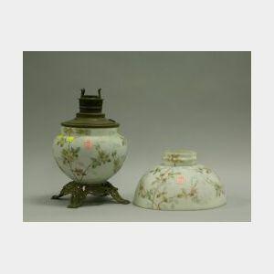 Mt.Washington Crown Milano Style Floral Decorated Glass Kerosene Lamp and Shade.