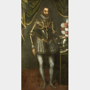 Continental School, 19th Century  Full Length Portrait of a Gentleman in Armor with Dress Helmet.