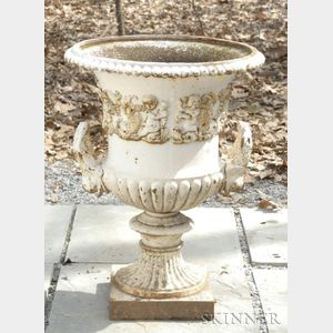 White Painted Cast Iron Urn