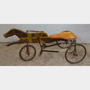 Childs Painted Wood and Iron Horse and Sulky-style Peddle Riding Toy.