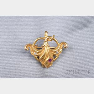 Art Nouveau 14kt Gold Gem-set Watch Pin, Riker Bros.