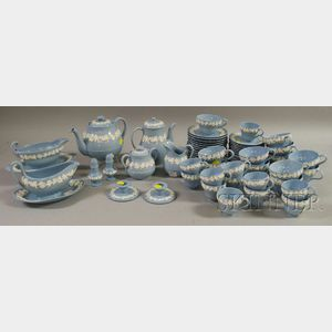 Fifty-eight-piece Wedgwood Light Blue Embossed Queens Ware Tea and Coffee Service