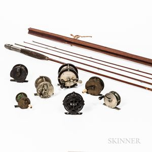 E. Vom Hofe & Co., New York, Bamboo Flyfishing Rod and Seven Assorted Vintage Reels.