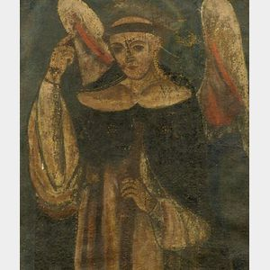 Spanish Colonial School, 19th Century    Winged Saint