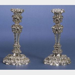 Pair of William IV Silver Weighted Candlesticks