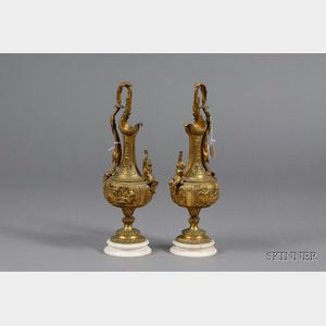 Pair of French Bronze and Marble Ewer-form Mantel Garnitures