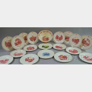 Eighteen Wedgwood Massachusetts Prep School Ceramic Plates and a Punch Bowl