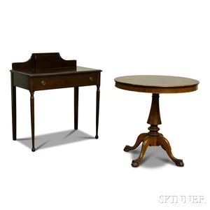 Colonial Revival Mahogany Tea Table and Worktable.
