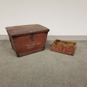 Two Scandinavian Painted Pine Boxes