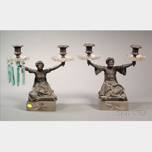 Pair of Aesthetic Movement Figural Bronze Two Light Candelabra