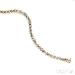 14kt Gold and Diamond Line Bracelet