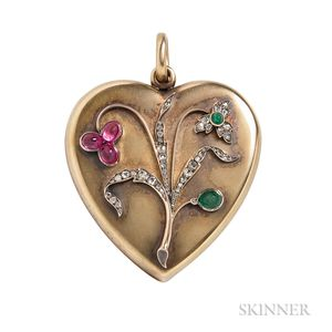 Antique 14kt Gold Gem-set Locket
