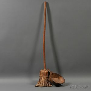 Hand-hewn Maple Scoop and a Native American-made Broom