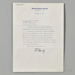 Kennedy, Edward M. (1932-2009) Typed Letter Signed, 15 September 1969.