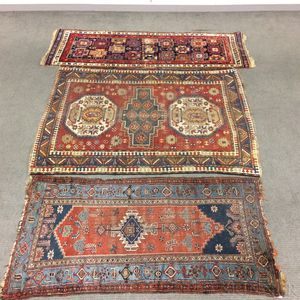 Two Caucasian Rugs and a Hamadan Rug