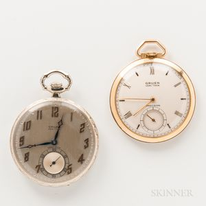 Gruen 18kt White Gold Open-face Watch and Gold-filled Open-face Watch