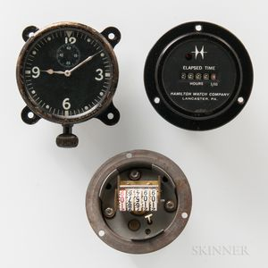 Early Hamilton Watch Co. 16 Size Aircraft Clock and Two Elapsed Time Indicators