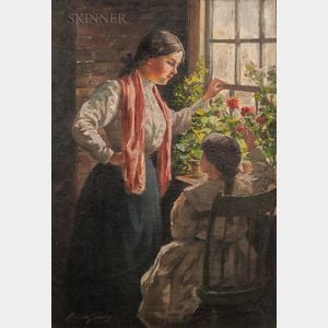 Abbott Fuller Graves (American, 1859-1936)      Mother and Child with Geraniums