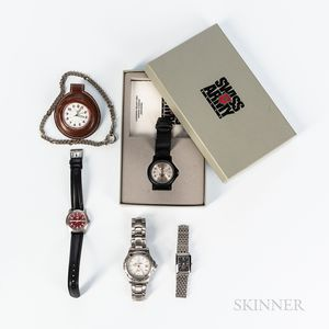 Two Mercedes Benz and Three Swiss Army Watches