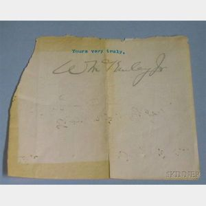 President William McKinley, Jr. Clipped Autograph.
