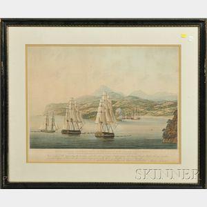 Set of Three Framed British Hand-tinted Prints of Napoleonic War Naval Battles