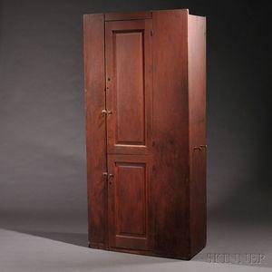 Shaker Pine Red-painted Two-Door Cupboard