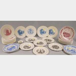 Thirty-eight Wedgwood Assorted Private School Ceramic Plates
