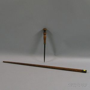 Tiger Maple Walking Stick with Hidden Sword