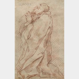 School of André Jean LeBrun (French, 1737-1811)      Sketch of a Bearded Saint, Probably St. Jerome, at Prayer