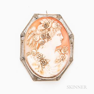14kt White Gold Shell Cameo Brooch