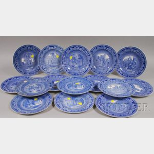 Fifteen Wedgwood Blue and White Princeton University Ceramic Plates