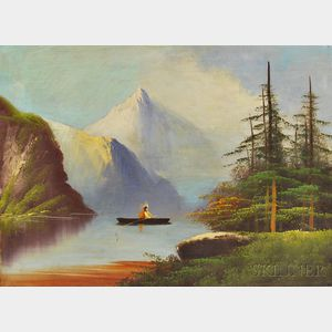 American School, 19th Century      Folk Art Painting of a Native American in a Canoe